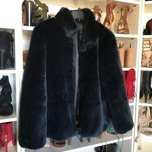 zara blackish navy furry jacket